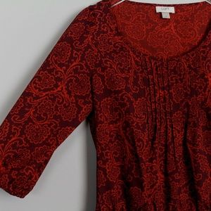 LOFT Tops - Ann Taylor Loft Blouse Red Paisley L/S Pintuck Loo